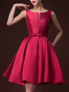 Wine Red Plunge Neck Bowknot Waist Lacing Back Prom Skater Dress
