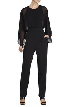 Zoee Layered Jumpsuit | BCBG so hot..have high waisted pants like this..could pair a flowy black blouse