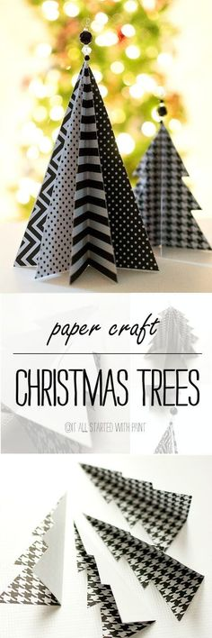 Black and White Paper Craft Christmas Tree
