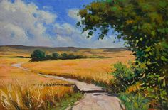 Landscape oil painting - Wheat field - Champagne Rural France - French countyside scene