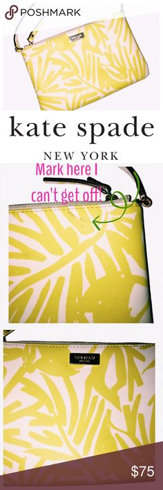 "Kate spade Lolly grant street wristlet Perfect bag for quick shopping day! Lightweight and stylish. I love the bright yellow banana leaves! 8"" l x 5"" h x 5"" handle drop . Strap is removable. Please ask your questions before buying , I want you happy! kate spade Bags Clutches & Wristlets"