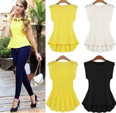 Buy Fashion Women's Sexy Lace Peplum Frill Bodycon Casual Party Tank Shirt Tops Blouse at Wish - Shopping Made Fun Shirts & Tops, Tank Tops, Lace Peplum, Peplum Blouse, Sleeveless Shirt, Chiffon Dress, Tank Top Shirt, Shirt Vest, Dame