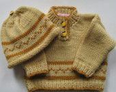 Banana Cream Pie Baby Set http://www.etsy.com/listing/9206455/banana-cream-pie-handknit-baby-sweater?ref=tre-1130172454-14 in Gold Luxury Treasury.