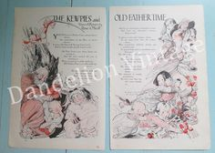 Vintage 1915 Kewpie Rose O'Neill 'The Kewpies and Old Father Time' story pages Original Good Housekeeping, Mermaid