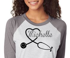 Nurse Stethoscope Heart Shirt personalized with Name, Trebled 3/4 Sleeve Raglan Tees, H Gray, Mom Shirt, fashion funny, Nurse Shirt,Nurse