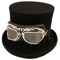 Classic Steampunk Topper with Goggles. Available throughout the sizes from XS-XXXL Steampunk Top Hat, Black Top Hat, Cape, Sunglasses, Classic, Accessories, Grande, Board, Products