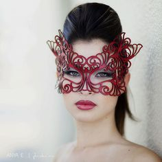 Glorious red leather rococo masque by Tom Banwell. Leather Mask, Red Leather, Crea Cuir, Lace Mask, Mascara Tips, Beautiful Mask, Masquerade Party, Masquerade Masks, Carnival Masks