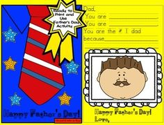 Happy Father's Day!Run off the shirt and tie templates on different colored construction paper or colored printing paper.  Students cut and decorate to make a shirt and tie for the front cover of the Fathers Day card.  Give each child a template to fill in for the inside of the card or you can have some children simply write their own inside if they are capable.