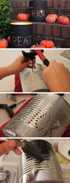Halloween Tin Can Luminaries | Click Pic for 35 DIY Halloween Crafts for Kids to Make | DIY Halloween Craft Ideas for Kids