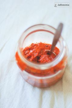 Roasted pepper paste with ginger & peanut butter Pepper Paste, Roasted Peppers, Bon Appetit, Peanut Butter, Pesto, Food And Drink, Veggies, Vegetarian, Favorite Recipes