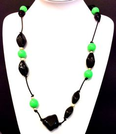 Black and Green necklace, Acrylic bead necklace,  black leather cord necklace, statement necklace, jewelry, women's gift by Tmlccreations on Etsy