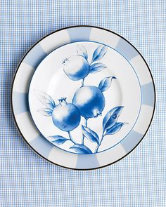 """Shades of Blue - Different patterns become cohesive when grouped by color. """"Nature"""" dessert plate by Tiffany & Co.; """"Galerie Royale Wallis Blue"""" dinner plate by Bernardaud."""