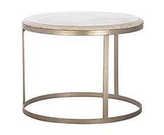 Mesa redonda en hierro y mármol, blanco roto - pequeña