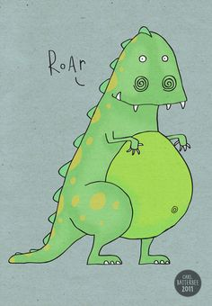 Scarey Dinosaur  Pen and Ink Illustration  5 x 7 by CarlBatterbee, £7.99
