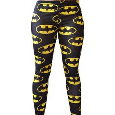 Batman Dc Comic Super Hero Yellow and Black Bat Wing Leggings Pants... ($22) ❤ liked on Polyvore featuring pants, leggings, bottoms, batman, 16. comfy wear., black, women's clothing, cartoon leggings, comic book and superman comic book