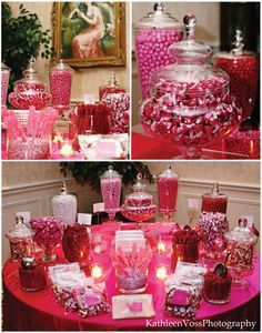 I like the different sizes of vases. Makes it look fancy. And with different color candy, perfect!!