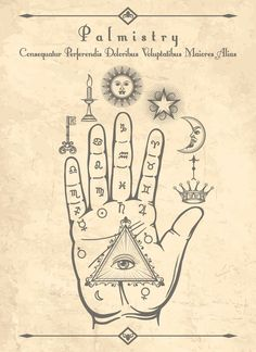 Illustration about Vintage palmistry. Esoteric occult symbols on hand, palm of prophecy retro vector illustration. Illustration of occult, drawing, palmistry - 110964686 Occult Symbols, Magic Symbols, Occult Art, Witchcraft Symbols, Witch Symbols, Zodiac Symbols, Occult Tattoo, Hand Symbols, Wiccan Spells