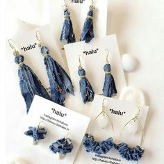 Long denim fabric boho earrings jewelry ribbon bohemian hippie dangle bluejean women teen statement unique blue different fun handmade Jean Crafts, Denim Crafts, Jewelry Crafts, Jewelry Art, Beaded Jewelry, Jewellery, Textile Jewelry, Fabric Jewelry, Do It Yourself Jeans