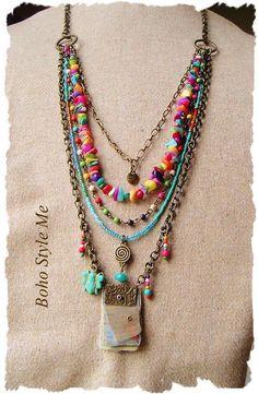 Bohemian Jewelry Colorful Layered Beaded Necklace by BohoStyleMe #beadedjewelry