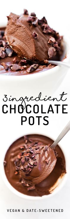 These paleo and vegan Chocolate Pots are the easiest most decadent dessert, made with NO coconut, tofu, avocados, or even sugar involved! Quick and easy healthy dessert idea. Healthy Vegan Dessert, Low Carb Dessert, Vegan Dessert Recipes, Vegan Treats, Gluten Free Desserts, Healthy Desserts, Just Desserts, Paleo Recipes, Vegetarian Desserts