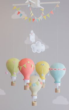 Bold Pastel Baby Mobile Hot Air Balloons by sunshineandvodka