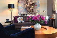 Loft Living Room - contemporary - living room - san francisco - by Faiella Design Blue Velvet Accent Chair, Blue Velvet Chairs, Purple Sofa, Velvet Sofa, Pink Velvet, Eclectic Living Room, New Living Room, Living Room Designs, Living Spaces