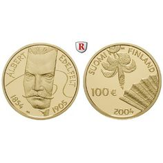 Finnland, Republik, 100 Euro 2004, 7,78 g fein, PP: 100 Euro 7,78 g fein, 2004. Albert Edefelt. GOLD, Polierte Platte, in Quadrum… #coins
