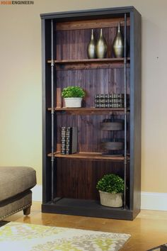 DIY Industrial bookcase plans from Rogue Engineer. This is a flipping awesome bookcase, and I'd love to make it. Industrial Home Design, Industrial House, Industrial Furniture, Industrial Shelving, Industrial Closet, Industrial Pipe, Industrial Lighting, Industrial Style, Industrial Decorating