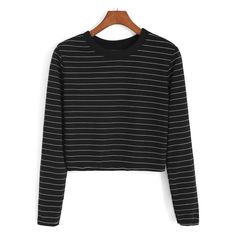 Round Neck Striped Crop Black Sweatshirt (15,380 KRW) ❤ liked on Polyvore featuring tops, hoodies, sweatshirts, sweat tops, round neck top, sweatshirts hoodies, sweat shirts and black sweat shirt
