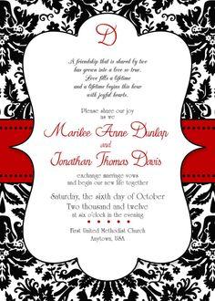 DIY Printable Invitation Templates - Red Black and White ... Red And White Wedding Invitations Templates
