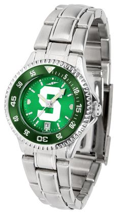 Michigan State Spartans Ladies Competitor Steel Watch With AnoChome Dial, Color Bezel
