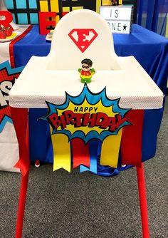 Superhero Birthday Party high chair for 1 year old boy. Superman high chair.