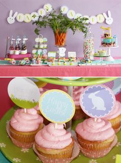 easter egg decorating party dessert table