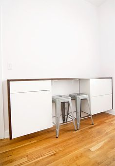 DIY desk using Ikea kitchen cabinetry - via Yellow Brick Home ... The perfect solution for a cheap(er) custom desk.