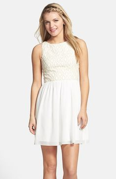 Free shipping and returns on a. drea Embellished Skater Dress (Juniors) at Nordstrom.com. Dainty embroidery and pearly beads create lavish texture over the bodice of an adorable sleeveless skater dress finished with a flirty keyhole topping the sheer back.