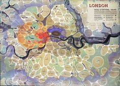 "architectural-review:      ""Bubble diagram"" of London by Arthur Ling and D.K. Johnson, 1943.      This along with other maps and diagrams formed part of the County of London Plan. The somewhat psychedelic diagram shown is a brilliant synthesis of mapping London's interrelated system of communities, and details of local town amenities."