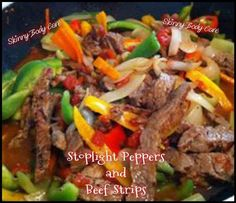 Stoplight Peppers and Beef Strips - Crock Pot  Ingredients: 3 pounds beef sirloin, cut into 2 inch strips 2 C beef broth or 2 cubes low sodium beef bouillon 2 TBSP cornstarch  1 large onion, minced 2-4 cloves garlic, minced 1 each red, yellow and green bell peppers, cut into strips 2 cans diced tomatoes, with liquid (or 2 large fresh tomato's, diced) 1/2 tsp cayenne pepper 1 tsp red pepper flakes 1 tsp black pepper 1 tsp brown sugar 2 tsp garlic powder 2 tsp low sodium Worcestershire Sauce…