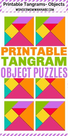 These printable tangram objects are great puzzles to complete. A kids activity that will keep their mind active and they will enjoy it too! Mind Games For Kids, Fun Mind Games, Puzzle Games For Kids, Mazes For Kids, Printable Puzzles For Kids, Preschool Activities At Home, Toddler Activities, Mind Puzzles, Games
