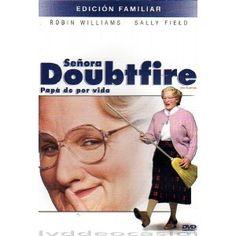 """SEÑORA DOUBTFIRE , Dirigida por Chris Columbus, Interpretes: Robin Williams , Sally Field. Con un poco de maquillaje y una peluca se disfraza de señora, la Señora Doubtfire, una perfecta ama de llaves inglesa. Esta """"locura"""" da lugar a las más fantást"""