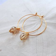 25% Off SALE! Use coupon code: HOLIDAY25 during checkout! Champagne Crystal Gold Hoop Earrings Edisto by laurenamosdesigns