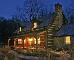 Log home. It's not huge and fancy but it looks so warm and cozy!