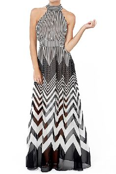 Black&White Stripe Semi-Sheer Maxi Halter Dress @ Romwe $30
