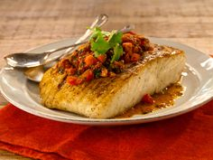 Grilled White Fish with Chermoula Recipe : Bobby Flay : Food Network Grilled Halibut, Grilled Seafood, Grilled Fish, Fish Recipes, Seafood Recipes, Grill Recipes, Entree Recipes, Dinner Recipes, Christmas Eve Dinner