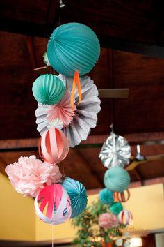 Paper garland chandelier {photography http://milkandhoney.com.au}