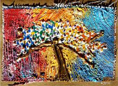 Chakra Tree * Easter hand made Blank Note Card Naïve Art on Burlap Glitter warm colorful Acryl painting 3D