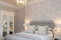 New Laura Ashley Wallpaper Living Room Paper Ideas Wallpaper Bedroom, Home, New Bedroom Design, Laura Ashley Living Room, Bedroom Hotel, Dove Grey Bedroom, Bedroom Wallpaper Laura Ashley, Living Room Grey, Trendy Bedroom