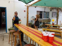 Surfing beer pong!