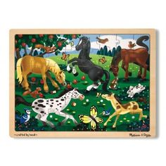 """""""This Frolicking Horses Jigsaw Puzzle features many colorful details kids can pick out. Sturdy wooden construction Includes: 48 puzzle pieces & tray x x (assembled) Ages 3 years & up Model no. 3801 Size: One Size. Wooden Jigsaw Puzzles, 1000 Piece Jigsaw Puzzles, Bern, Sunsout Puzzles, Melissa & Doug, Toys Online, Puzzle Pieces, Baby Clothes Shops, Games For Kids"""