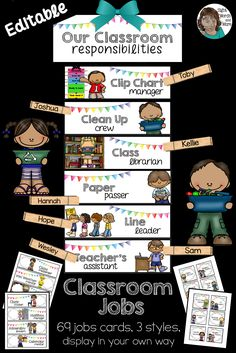 Editable classroom jobs in chrisp white. Use as a clipchart or display in your own way. This clip ch Kindergarten Classroom Jobs, Kindergarten Job Chart, Classroom Job Chart, Classroom Helpers, Preschool Curriculum, Classroom Themes, Classroom Organization, Class Jobs, School Jobs