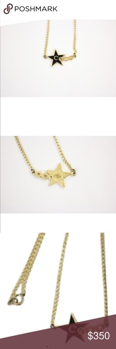 """Chanel coco star necklace 15""""Lx.5""""Hx1""""W. made in France. 100% authentic   Length of chain plus charm 15"""" chain shoes light tarnishing by closure very classy yet trendy way to wear Chanel CHANEL Jewelry Necklaces"""